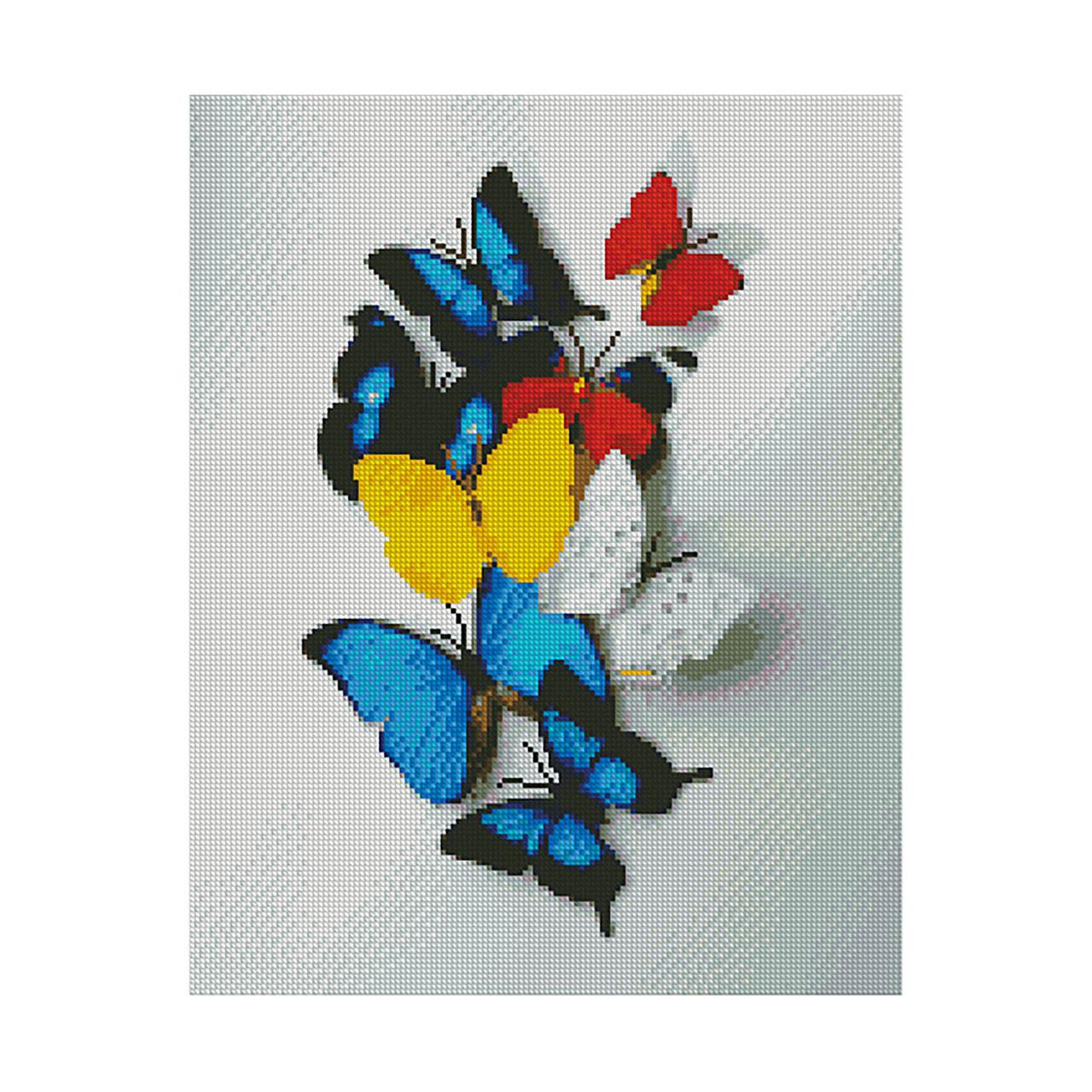 Алмазная вышивка 40x50 см. Яркие бабочки Strateg в подарочной коробке