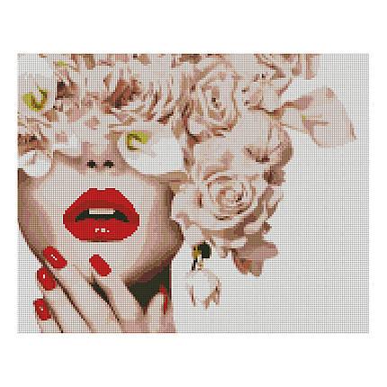 Алмазная вышивка 40x50 см. Леди с цветами Strateg в подарочной коробке, фото 2