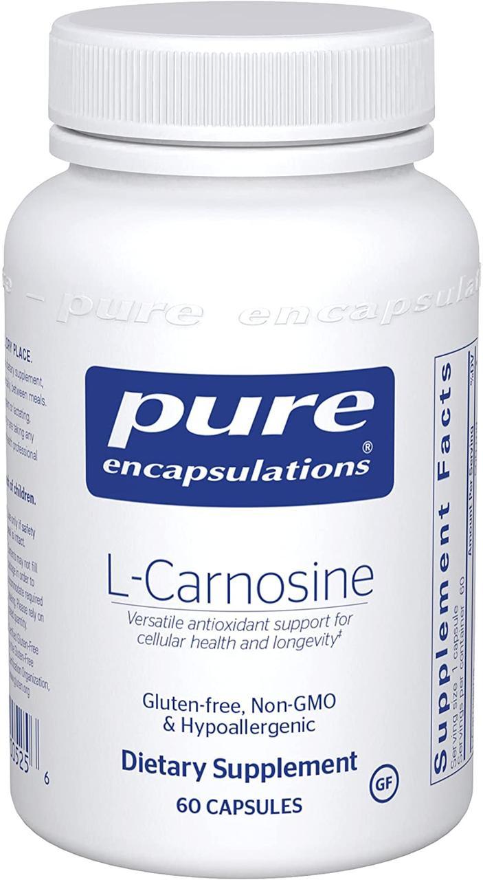 L-карнозин, l-Carnosine, Pure Encapsulations, 60 капсул