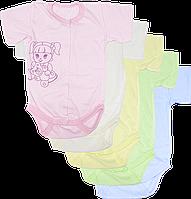 Детский боди-футболка, однотонное, с принтом, тонкий хлопок, ТМ Алекс, р-ры: 56, 62, 68, 74, 86