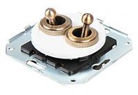 Выключатель с тумблером ретро для внутреннего монтажа двойной (двухклавишный)