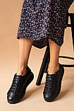 Женские кроссовки кожаные весна/осень черные, фото 6