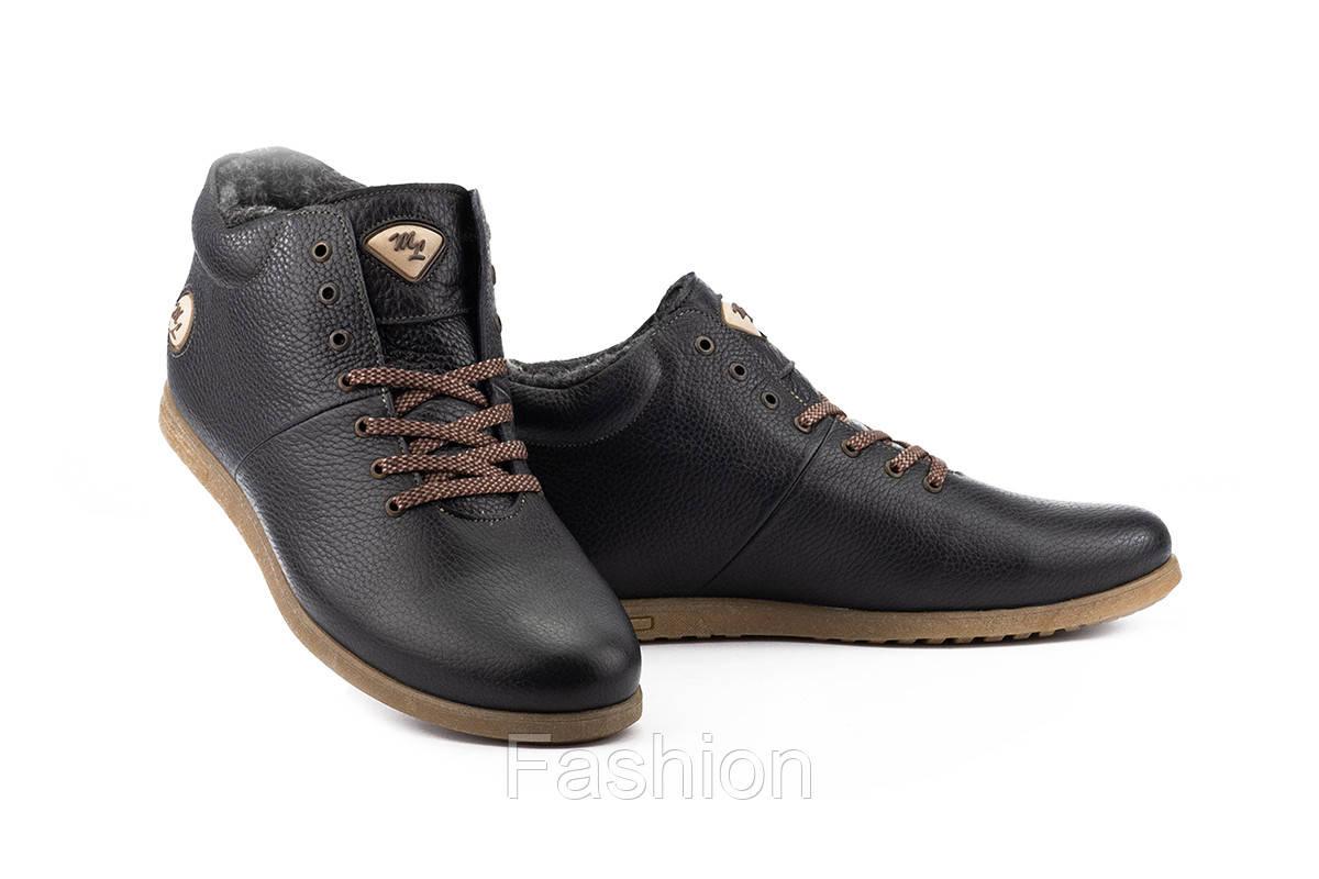 Мужские ботинки кожаные зимние синие