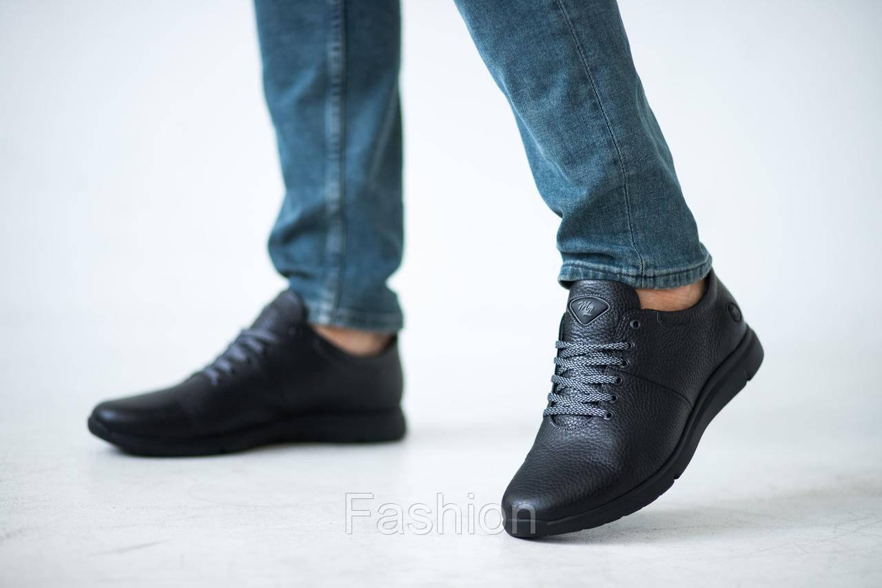 Мужские кроссовки кожаные весна/осень черные