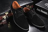 Мужские туфли замшевые весна/осень черные, фото 7