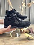 Мужские ботинки замшевые зимние черные, фото 2