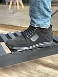 Мужские ботинки замшевые зимние черные, фото 3