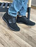 Мужские ботинки замшевые зимние черные, фото 4