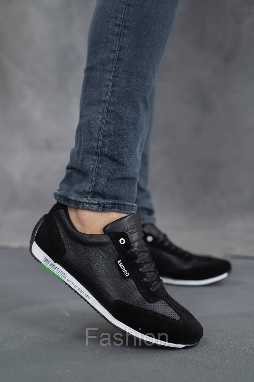 Мужские кроссовки кожаные летние черные