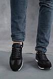 Мужские кроссовки кожаные летние черные, фото 2
