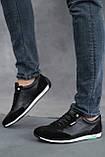 Мужские кроссовки кожаные летние черные, фото 3