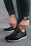 Мужские кроссовки кожаные летние черные, фото 4