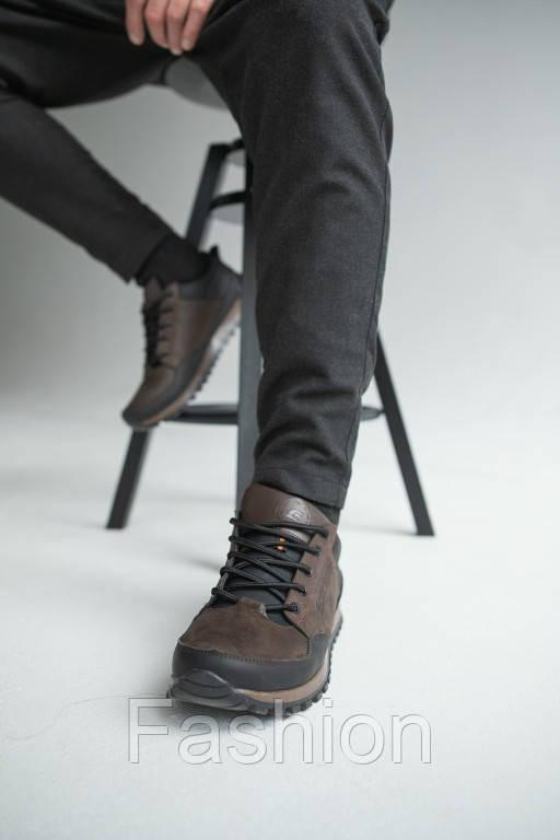 Чоловічі кросівки шкіряні весна/осінь коричневі-чорні