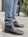 Мужские ботинки кожаные зимние черные, фото 3