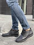 Мужские ботинки кожаные зимние черные, фото 4