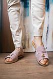 Жіночі шльопанці замшеві літні рожеві, фото 4