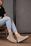 Женские ботинки замшевые весна/осень бежевые, фото 6