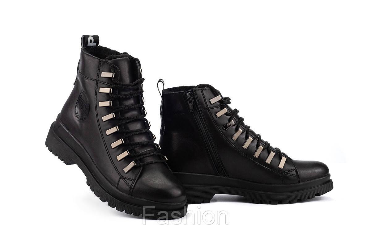 Женские ботинки кожаные зимние черные