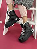 Жіночі черевики шкіряні зимові чорні, фото 2