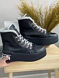 Жіночі черевики шкіряні зимові чорні, фото 4