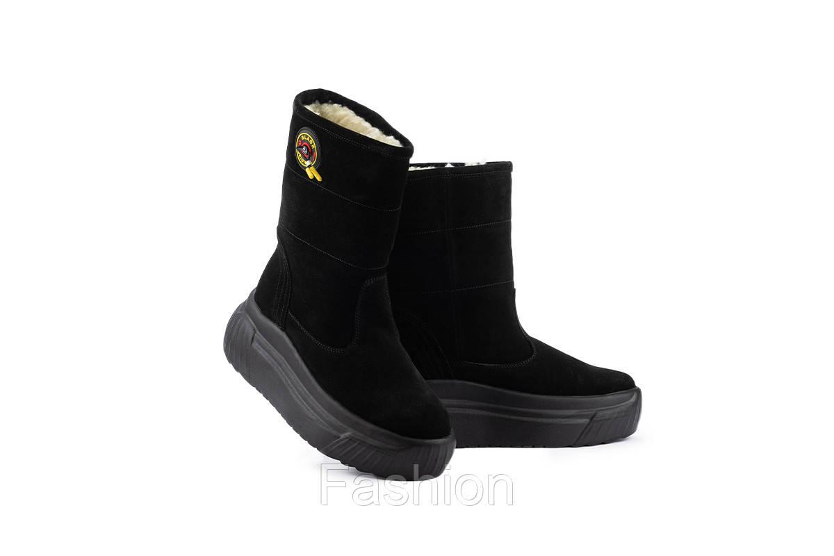 Жіночі замшеві черевики зимові чорні