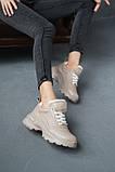 Женские кроссовки кожаные весна/осень бежевые, фото 4