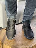 Мужские кеды кожаные весна/осень черные, фото 4