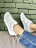 Женские кроссовки кожаные летние белые, фото 4