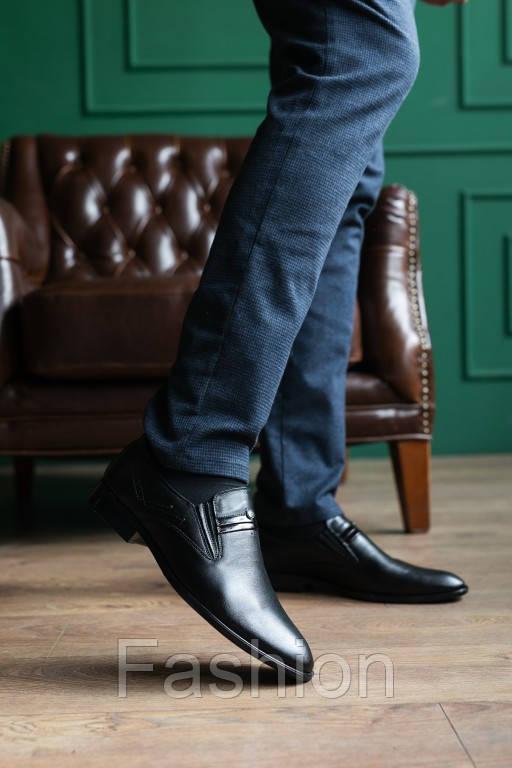 Мужские туфли кожаные весна/осень черные