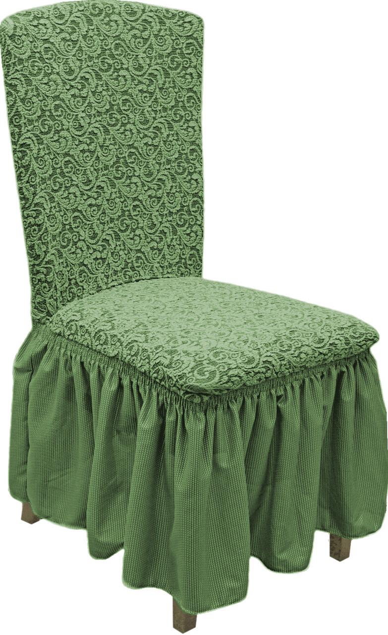 Чехлы накидки на стулья жаккардовые с юбкой, стрейч чехлы на стулья универсальные со спинкой Зеленый