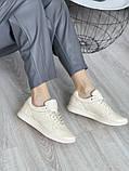 Женские кроссовки кожаные весна/осень бежевые, фото 5