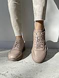 Жіночі кросівки шкіряні весна/осінь бежеві, фото 5