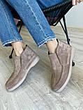 Женские ботинки замшевые весна/осень бежевые, фото 4