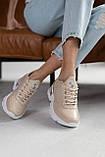 Жіночі кросівки шкіряні весна/осінь бежеві, фото 3