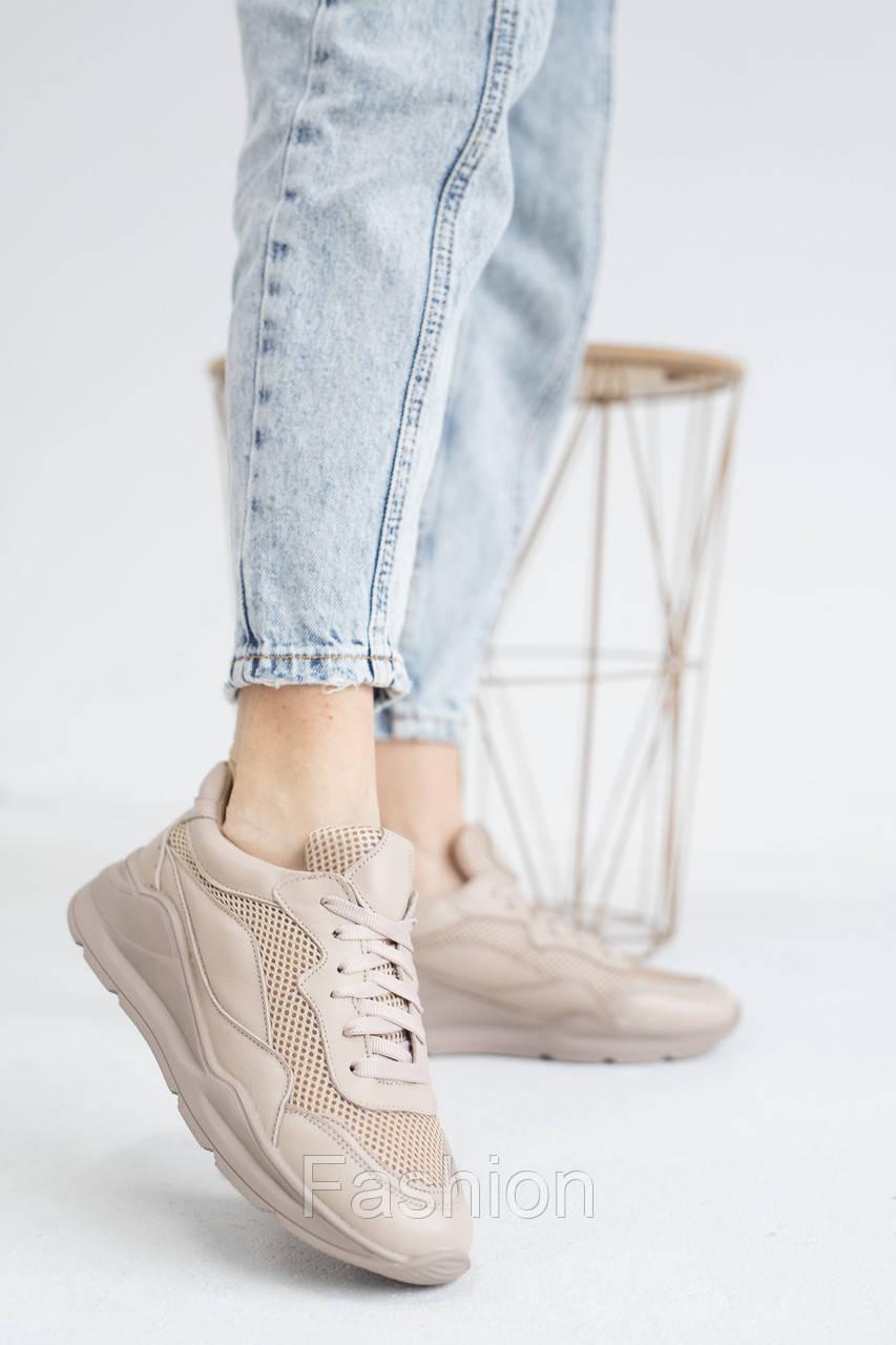 Женские кроссовки кожаные летние бежевые