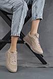 Женские кроссовки кожаные летние бежевые, фото 5