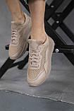 Женские кроссовки кожаные летние бежевые, фото 6