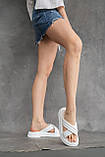 Женские шлепанцы кожаные летние белые, фото 5