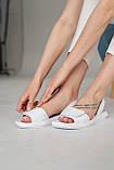 Жіночі босоніжки шкіряні літні білі, фото 4