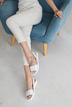 Жіночі босоніжки шкіряні літні білі, фото 5