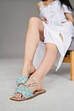 Женские шлепанцы кожаные летние голубые, фото 5