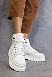 Жіночі черевики шкіряні весна/осінь білі, фото 3