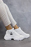 Жіночі кросівки шкіряні весна/осінь білі, фото 5