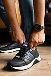 Чоловічі кросівки шкіряні весна/осінь чорні, фото 3