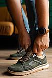 Мужские кроссовки кожаные весна/осень хаки, фото 3