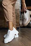 Жіночі туфлі шкіряні весна/осінь білі, фото 2