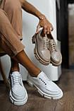 Жіночі туфлі шкіряні весна/осінь білі, фото 3