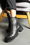 Женские ботинки кожаные весна/осень черные, фото 3