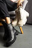 Женские ботинки кожаные весна/осень черные, фото 4