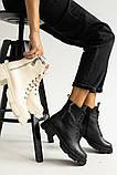 Женские ботинки кожаные весна/осень черные, фото 7